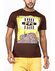 Paani Puri Men's Round Neck Cotton T-Shirt (C.brown)
