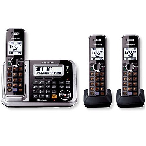 Panasonic Dect 6.0 Expandable Bluetooth Cordless Phones System With Caller Id And Digital Answering System - 3 Handset Pack