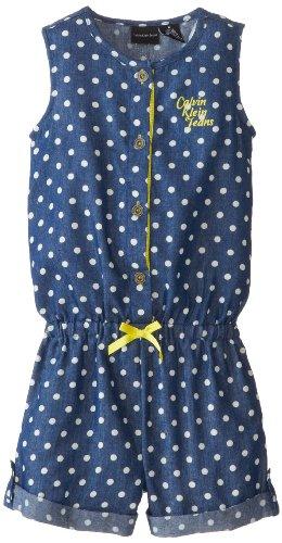 Calvin Klein Little Girls' Romper, Blue, 6 front-961780
