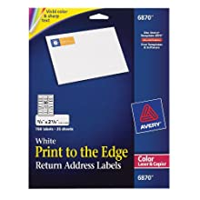 Avery 6870 White laser labels for color printing, 3/4x2-1/4 label, 750 labels/pack