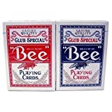 2 Decks Bee Playing Cards Red and Blue (Color: Red, Blue, Tamaño: Casino Pocker)