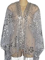 Sheer-Delights Silver Mesh Flower Sequin Evening Wrap w/Fringe Prom Wedding Formal