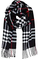 Humble Chic Women's London Plaid Scarf - Soft Fringe Cashmere-Feel Tartan Check