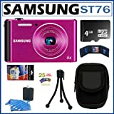 511ARYepTNL. SL160  Samsung ST76 16MP Digital Camera with 5x Optical Zoom and 2.7 inch LCD in Purple + 4GB Micro SDHC + Camera Case + Accessory Kit