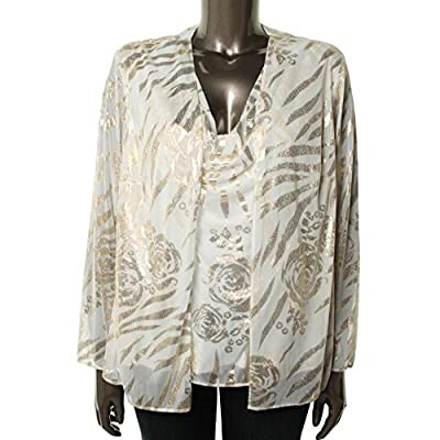Onyx Women's Long Sleeve Printed Special Occasion Blouse, Ivory / Gold