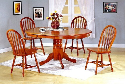 5pcs Oak Finish Wood Oval Dining Table & 4 Windsor Chairs