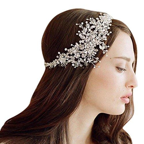 Whitelotous Beautiful Bride Handmade Crystal Ornaments Headdress Headbands Wedding Decor