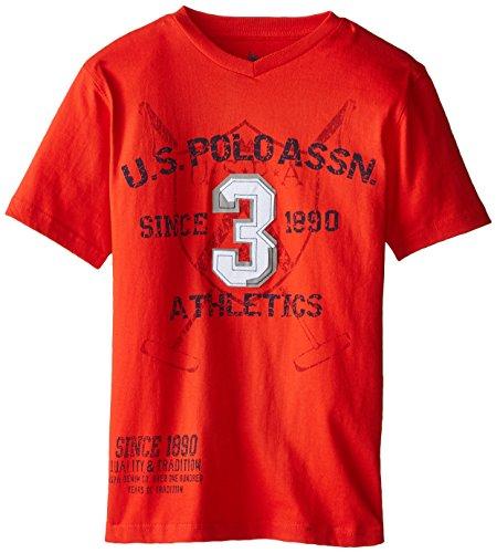 U.S. Polo Assn. Big Boys' V-Neck Graphic T-Shirt, Crimson Fire, 18