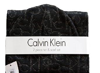 Calvin Klein Hat and Scarf Set (Black/Black)