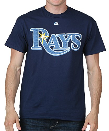 Majestic Tampa Bay Rays Mens Rays Logo T-Shirt Small Navy