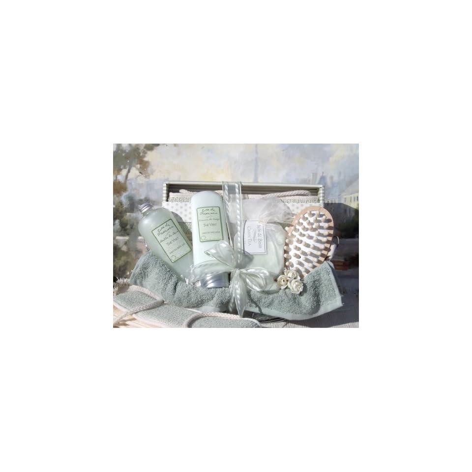 Spa Essentials   Green Tea Scented Spa Gift Basket
