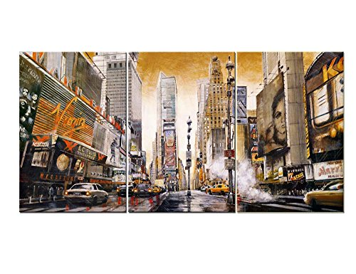 3 Pieces Modern Canvas Painting Wall Art The Picture For Home Decoration Retro Time Square Manhattan New York Ny Building Cityscape Print On Canvas Giclee Artwork For Wall Decor (New York Pics compare prices)