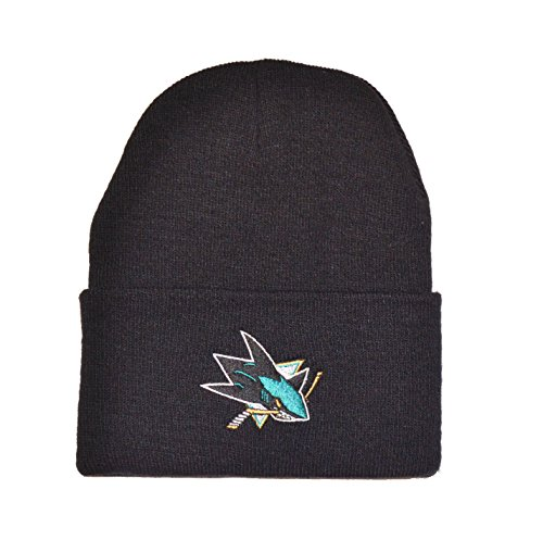 San Jose Sharks Black Cuff Beanie Hat - NHL Cuffed Winter Knit Toque Cap (San Jose Sharks Toque compare prices)