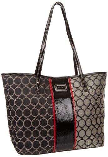 Nine West 9S Jacquard Medium Shopper Tote Handbag,Black/Ivory,One Size