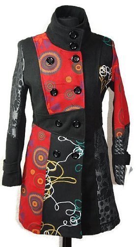 #602 Damen Designer Patchwork Winter Mantel Trenchcoat Wintermantel 36 38 40 42 44 46 (44)