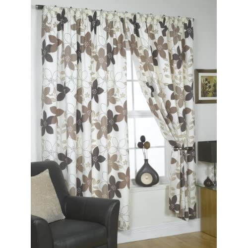 Impressions Izabelle Chocolate Fully Lined Readymade Curtain Pair 46x90in(116x228cm)