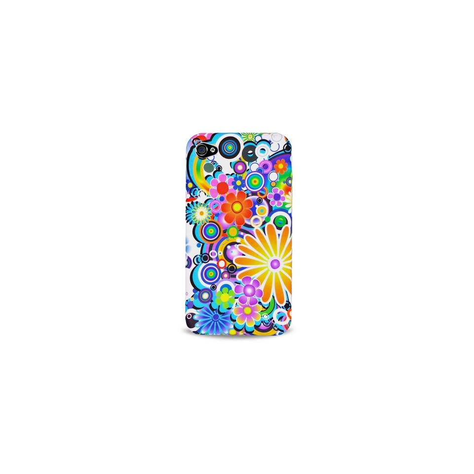 Green Yellow Pink Multi Rainbow Flower Garden Soft Silicone Skin Gel Cover Case for Apple Iphone 4 4g