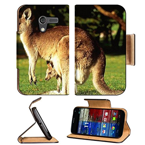 Animal Wildlife Kangaroo Mother Baby Australia Outback Motorola Moto X Flip Case Stand Magnetic Cover Open Ports Customized Made To Order Support Ready Premium Deluxe Pu Leather 5 7/16 Inch (138Mm) X 3 1/16 Inch (78Mm) X 9/16 Inch (14Mm) Luxlady Mobility front-65340