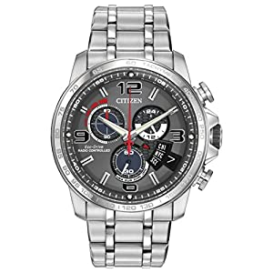 Citizen Men's BY0100-51H Chrono-Time A-T Analog Display Japanese Quartz Silver Watch