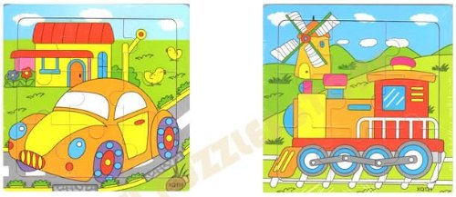 2pcs Wooden Cartoon Traffic Jigsaw Puzzle Early Educational Toys Gifts (Car + Train?