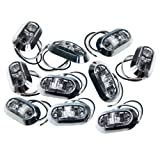 TMH White Clear Side Light LED Marker Trailer Truck Turn Clearance Lamp + Chrome Cover Pack of 10
