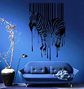 Zebra silhouette with smudges bar code decor wall mural for Bar decor amazon