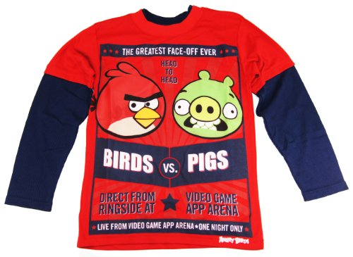 Angry Birds Boys 8-16 Red Long Sleeve Tee Head To Head Birds vs. Pigs