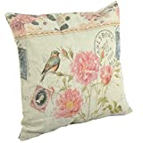 """Create For-Life Cotton Linen Decorative Pillowcase Throw Pillow Cushion Cover Square 18"""" Bird Pretty Pink Blossoms"""