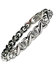 MPS JAMIAN S Ladies Magnetic Bracelet with White Crystals and Powerful Rare-Earth Magnets with Free Elegant Gift...