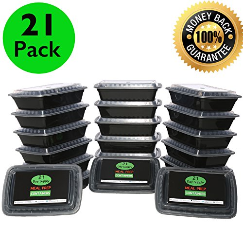 21 PACK - Meal Prep Container 1 Compartment 28 OZ Black With Clear Lid Durable Stackable Microwavable BPA Free (Meal Prep Containers Bpa compare prices)