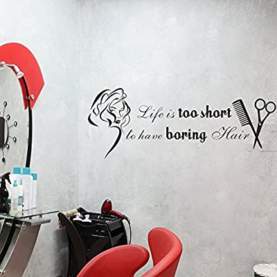 Life Is Too Short To Have Boring Hair -Sexy Girl Beauty Face Decor Beauty Shop Decal Hair Salon Stylist Wall Graphics