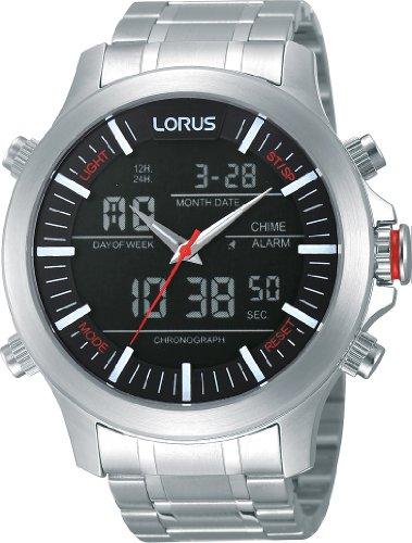 Lorus - Orologio da polso, analogico - digitale al quarzo, acciaio INOX, Uomo