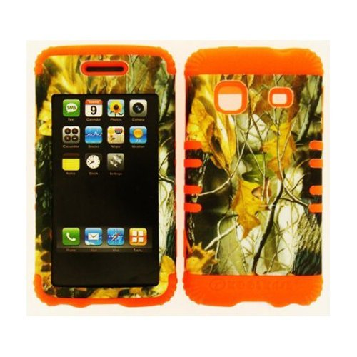 Samsung Hybrid Silicone Rubber Orange, Hard Plastic Cover Snap On Camo Leaves for Samsung M820 Galaxy Prevail Boost and Precedent Straight Talk (Samsung Galaxy Precedent compare prices)