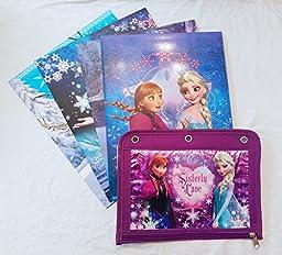 Set of Four 2-Pocket Frozen School Folders - Includes Bonus Pencil Pouch!