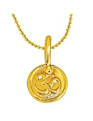 Surat Diamonds OM Shaped Gold Plated Sterling Silver Pendant With Gold Plated Chain For All (SDS190)