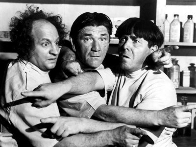 All Gummed Up, starring the Three Stooges (Larry, Shemp, Moe)