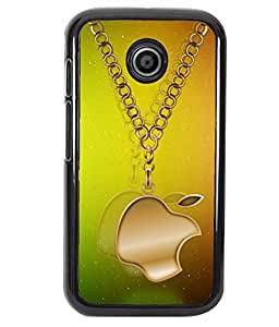 PRINTVISA Golden aple Logo Premium Metallic Insert Back Case Cover for Motorola Moto E - D5912