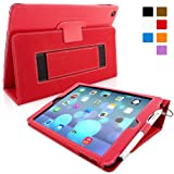 Snugg iPad Air (iPad 5) Case in Red Leather - Flip Cover and Stand with Automatic Wake / Sleep, Elastic Hand Strap & Soft Premium Nubuck Fibre Interior to Protect Apple iPad Air (iPad 5) - Includes Lifetime Guarantee
