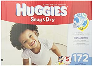 Huggies Snug and Dry Diapers Economy Plus Pack, Size 5, 172 Count