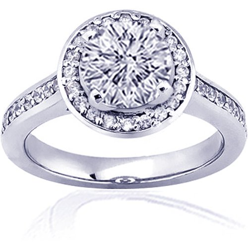 1.3 Ct Round Cut Diamond Engagement Ring Pave 