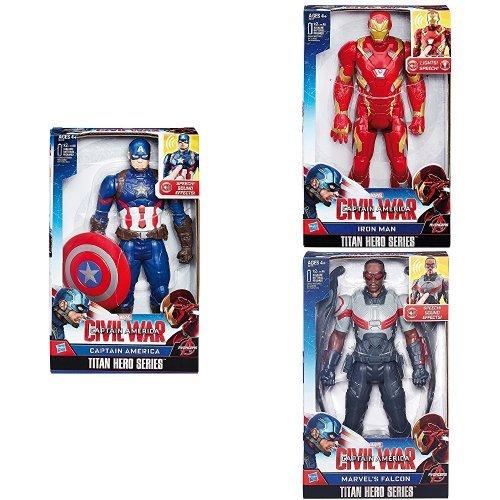 Capitan America - Personaggio Elettronico, 30 Cm + Capitan America - Iron Man Elettronico + Capitan America - Falcon Elettronico