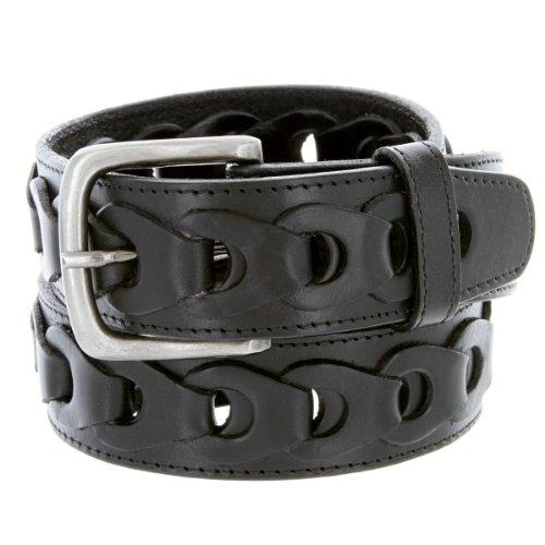 Mens Genuine Leather Interlocking Loop Casual Western Jeans Belt (38 Black)