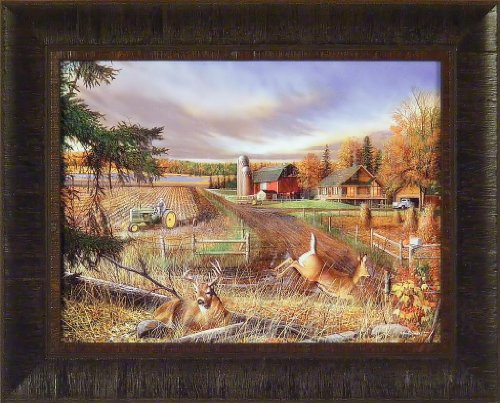 Dream Farm By Kevin Daniel 17X21 John Deere Tractor Deer Barn Framed Art Print Wall Décor Picture