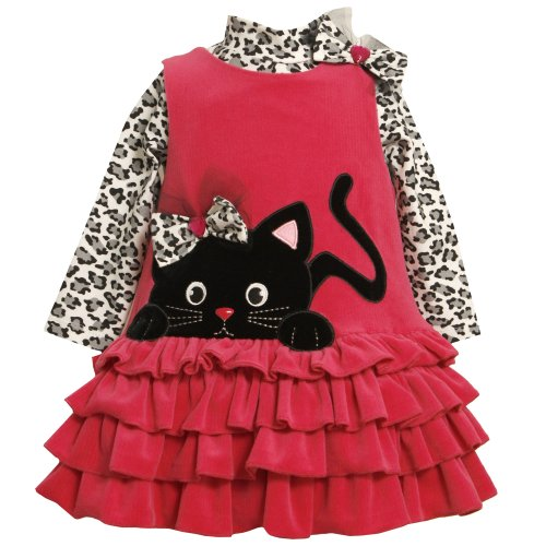 Bonnie Jean NEWBORN/INFANT 3M-24M 2-Piece FUCHSIA-PINK Ribbed Knit Leopard Print Kitten Kitty Cat Face Applique Jumper Dress Set