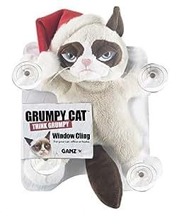 "Grumpy Cat Grumpy Cat 10"" Window Cling with Santa Hat"