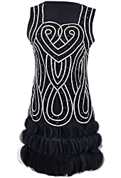 Anna-Kaci Women's Infinity Braid Flapper Dress with Scalloped Petal Hem