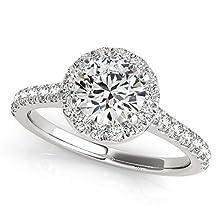 buy Round Diamond Engagement Ring, Round Diamond Halo Engagement Ring,Halo Diamond Engagement Ring. Simple Diamond Engagement Ring