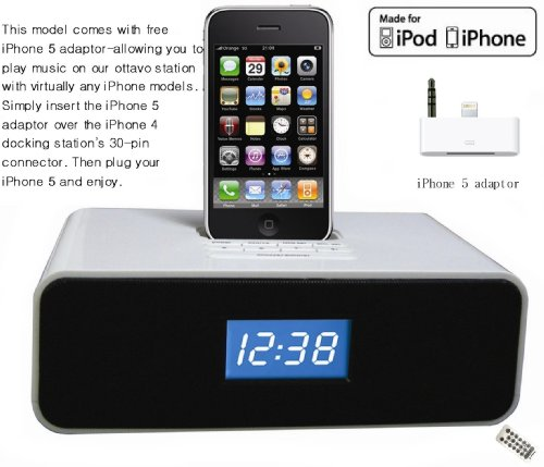 ottavo ot3040ws docking station for iphone 5 4 4s 3g 3gs ipod ipod touch with dual alarm. Black Bedroom Furniture Sets. Home Design Ideas
