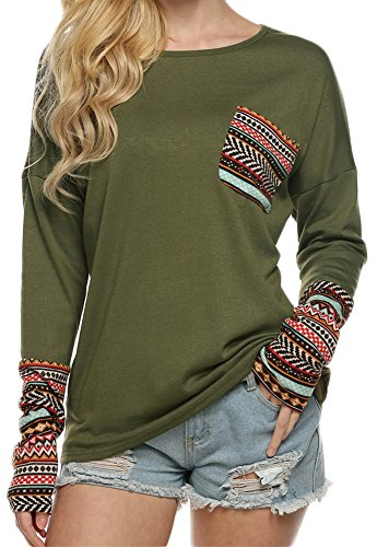 POGT Women Long Sleeve O-Neck Patchwork Casual Loose T-shirt Blouse Tops (XXL, Army Green) (Plus Size Casual Tops compare prices)