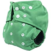 Charcoal Bamboo, Double Gusset, Pocket Diaper With 4 Layer Charcoal Bamboo Insert (Green)